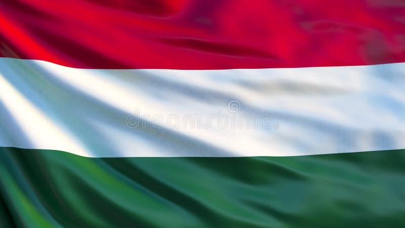 Флаг Венгрии Развевая флаг иллюстрации Венгрии 3d иллюстрация вектора