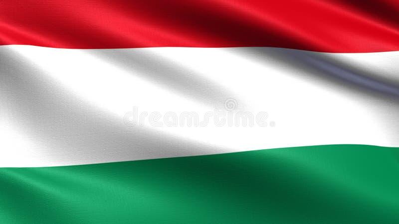 Флаг Венгрии, с развевая текстурой ткани иллюстрация вектора