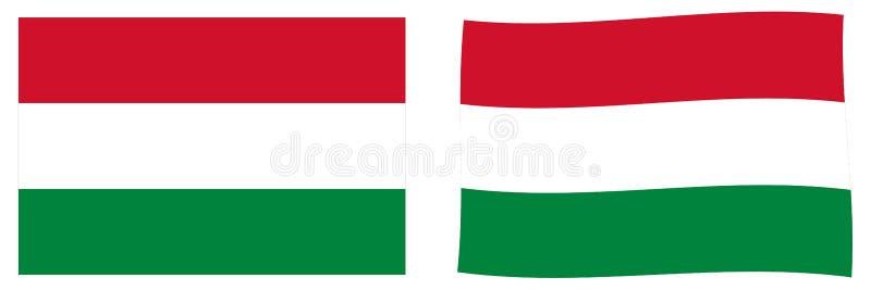 флаг Венгрия Простая и немножко развевая версия иллюстрация штока