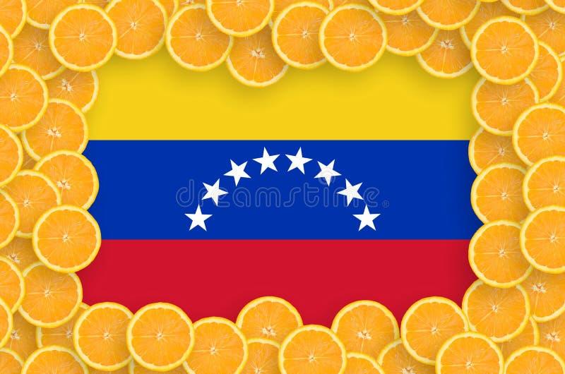 Флаг Венесуэлы в свежей рамке кусков цитрусовых фруктов иллюстрация штока