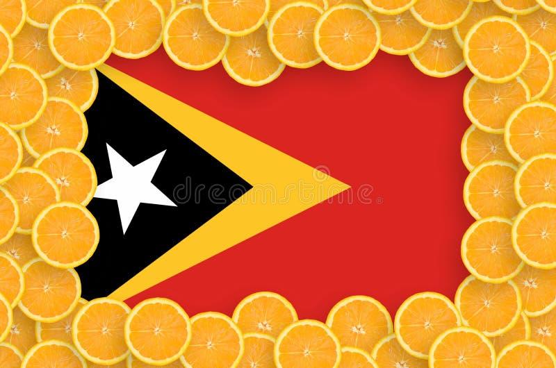 Флаг Восточного Тимора в свежей рамке кусков цитрусовых фруктов бесплатная иллюстрация