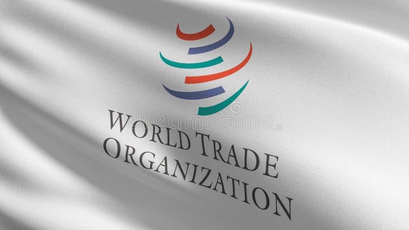 Флаг Всемирной торговой организации или ВТО Межправительственная организация, занимающаяся вопросами регулирования международных бесплатная иллюстрация