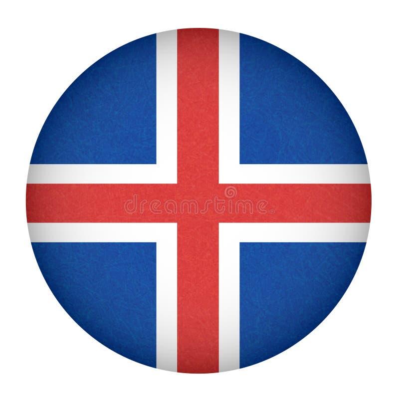 Флаг в форме круга, изолированная кнопка Исландии исландского знамени с поцарапанной текстурой, grunge иллюстрация вектора