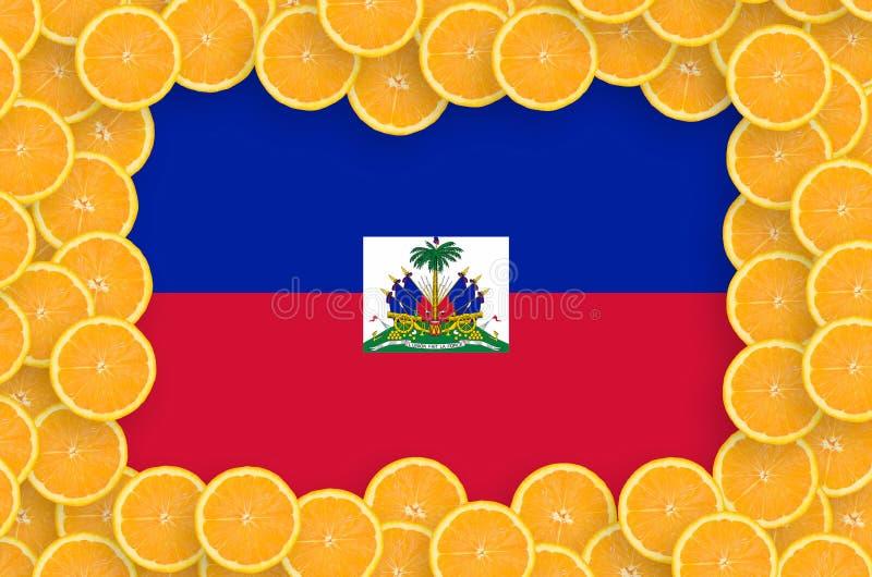 Флаг Гаити в свежей рамке кусков цитрусовых фруктов иллюстрация вектора