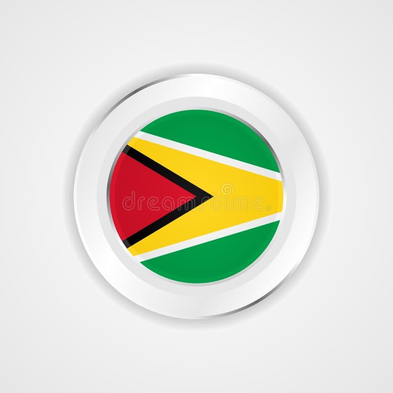 Флаг Гайаны в лоснистом значке иллюстрация вектора