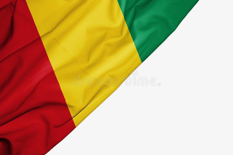 Флаг Гвинеи ткани с copyspace для вашего текста на белой предпосылке иллюстрация вектора