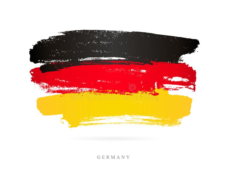 флаг Германия абстрактной покрашенная щеткой реальная текстура ходов к трассировано была иллюстрация штока