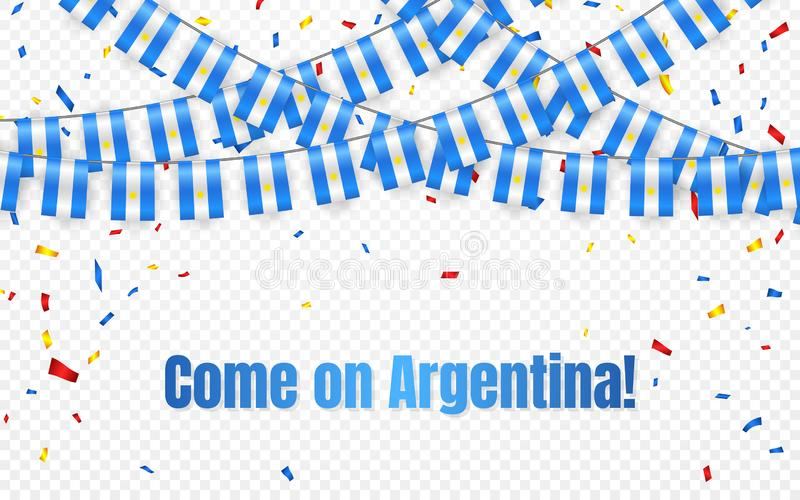 Флаг гирлянды Аргентины с confetti на прозрачной предпосылке, овсянке вида для знамени шаблона торжества, иллюстрации вектора иллюстрация штока