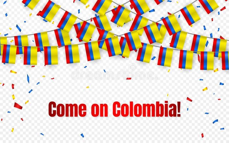 Флаг гирлянды Колумбии с confetti на прозрачной предпосылке, овсянке вида для знамени шаблона торжества, иллюстрации вектора иллюстрация вектора
