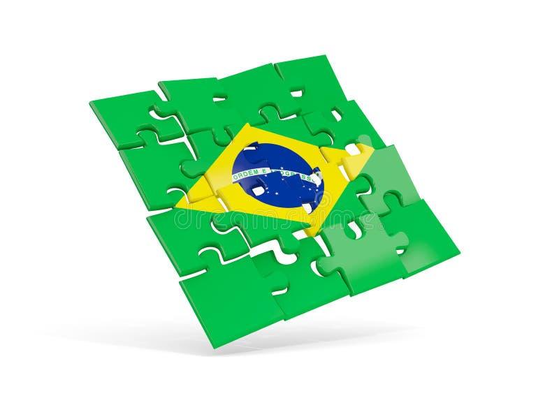 Флаг головоломки Бразилии изолировал на белизне иллюстрация штока