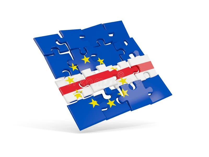 Флаг головоломки Кабо-Верде изолировал на белизне иллюстрация штока