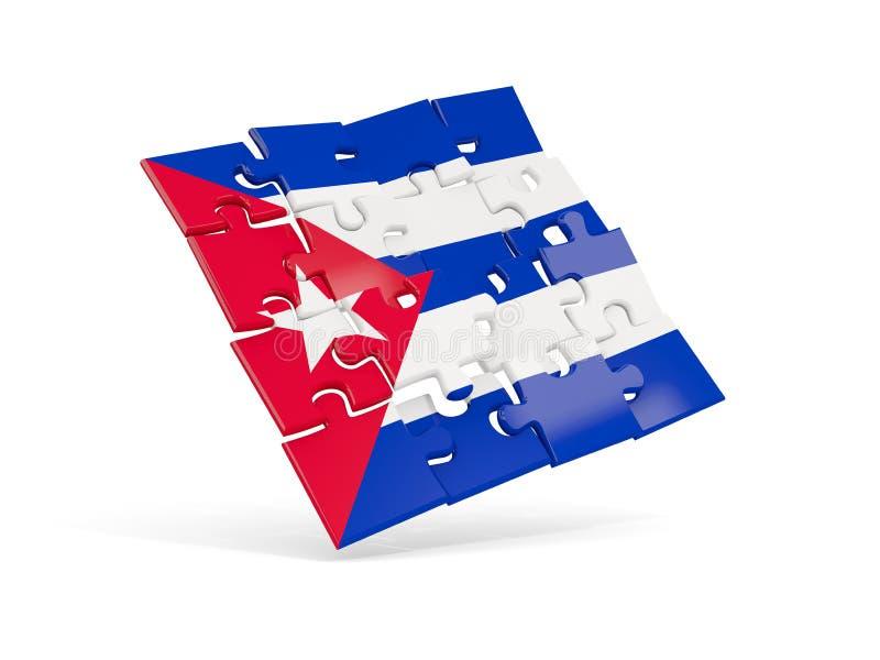 Флаг головоломки Кубы изолировал на белизне бесплатная иллюстрация