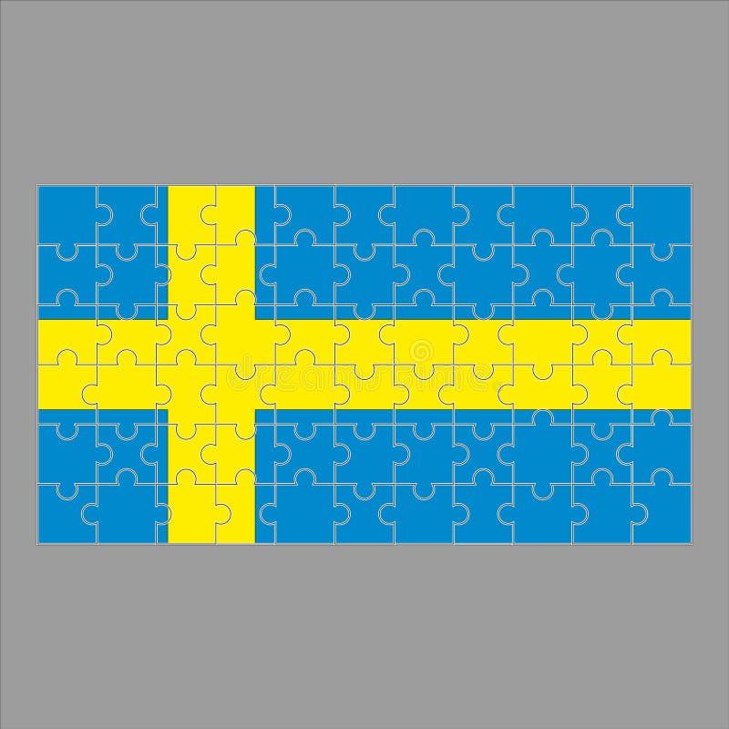 Флаг головоломки Швеции на серой предпосылке иллюстрация вектора