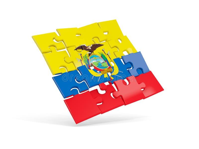 Флаг головоломки эквадора изолировал на белизне иллюстрация штока