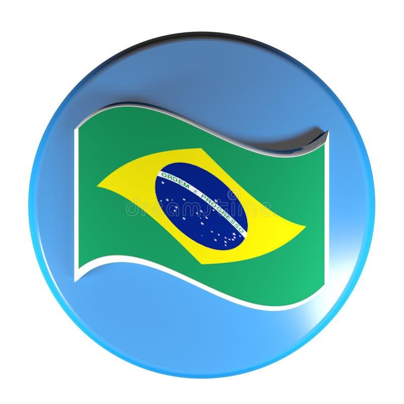 Флаг голубой кнопки круга бразильский - иллюстрация перевода 3D иллюстрация штока