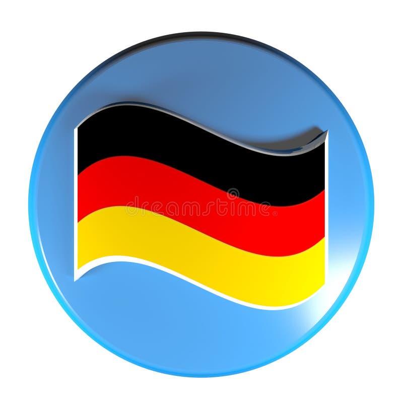 Флаг голубой кнопки круга немецкий - иллюстрация перевода 3D иллюстрация штока