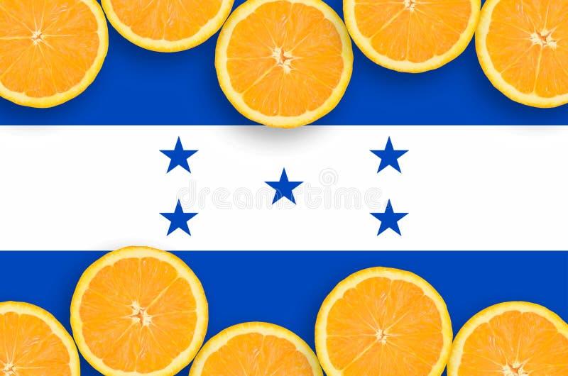 Флаг Гондураса в рамке кусков цитрусовых фруктов горизонтальной иллюстрация вектора