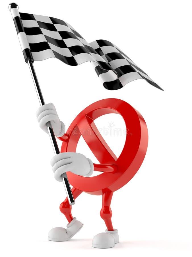 Флаг гонки запрещенного знака развевая иллюстрация штока
