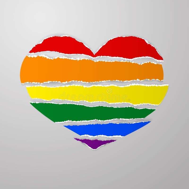 Флаг гордости радуги LGBT любит сорванные бумажные нашивки с клочковатым unev иллюстрация штока