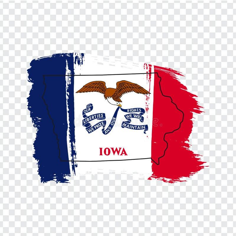 Флаг государства Айовы от ходов щетки и пустая карта Айовы r Высококачественная карта Айова и флаг на transpare бесплатная иллюстрация
