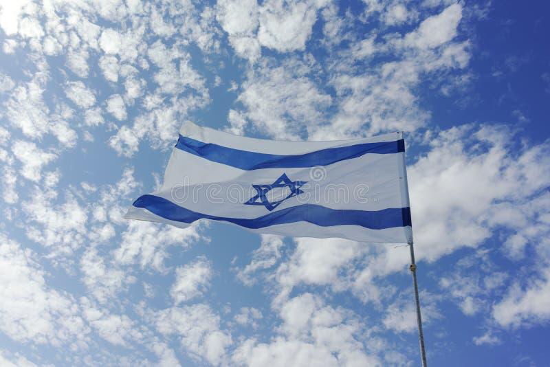 Флаг государства Израиля, бело-голубой с звездой Дэвида, Magen Da стоковые изображения