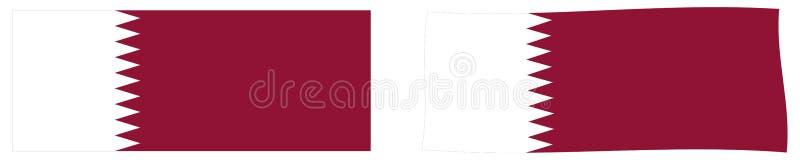 Флаг Государства Катар Простая и немножко развевая версия иллюстрация штока
