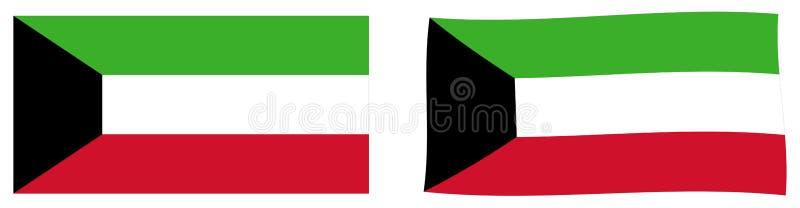 Флаг Государства Кувейт Простая и немножко развевая версия иллюстрация вектора