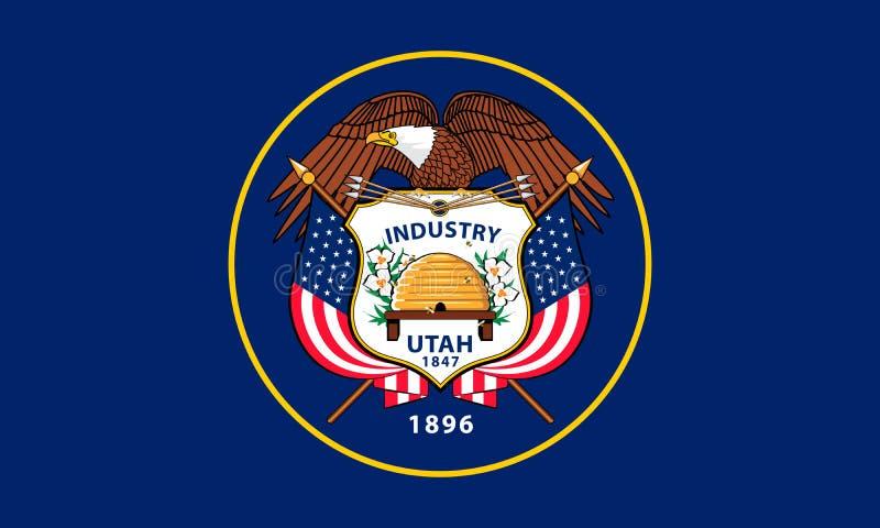 Флаг государства Юты Высококачественная иллюстрация вектора Оригинал иллюстрация вектора