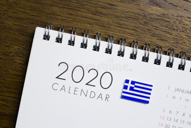 Флаг Греции на календаре 2020 стоковая фотография rf