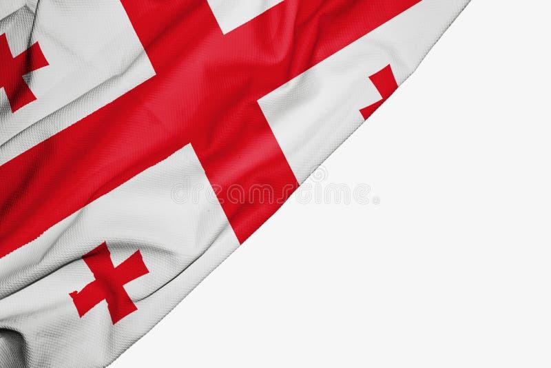Флаг Грузии ткани с copyspace для вашего текста на белой предпосылке иллюстрация вектора