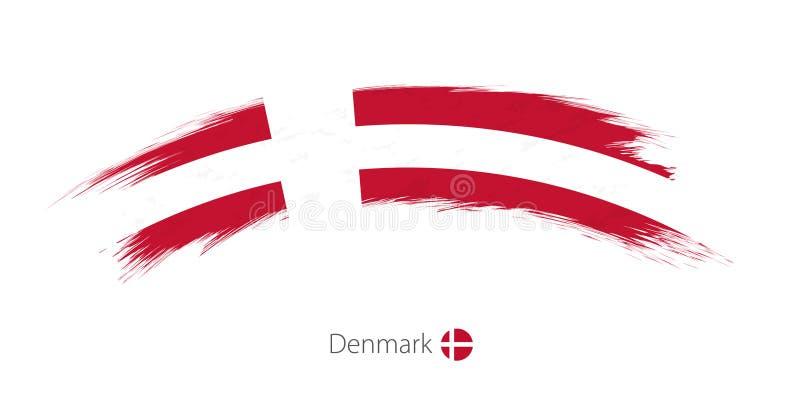 Флаг Дании в округленном ходе щетки grunge иллюстрация вектора