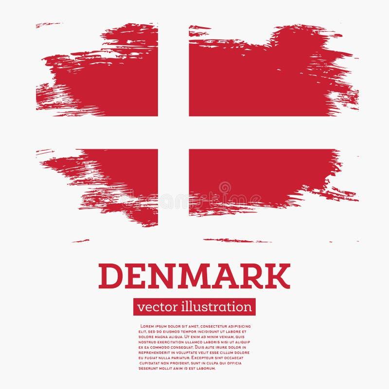 Флаг Дании с ходами щетки иллюстрация штока