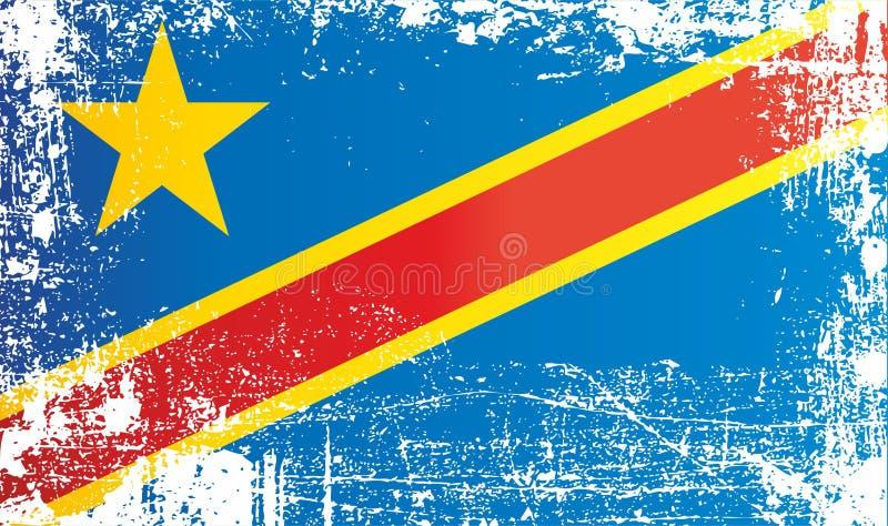 Флаг Демократической Республики Конго, Африки Сморщенные грязные пятна иллюстрация штока