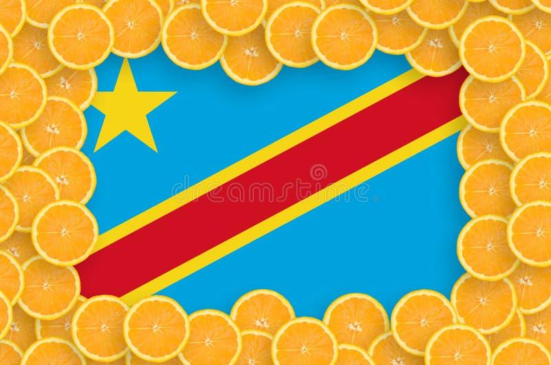 Флаг Демократической Республики Конго в свежей рамке кусков цитрусовых фруктов иллюстрация штока
