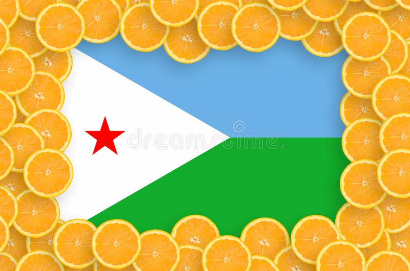Флаг Джибути в свежей рамке кусков цитрусовых фруктов иллюстрация штока