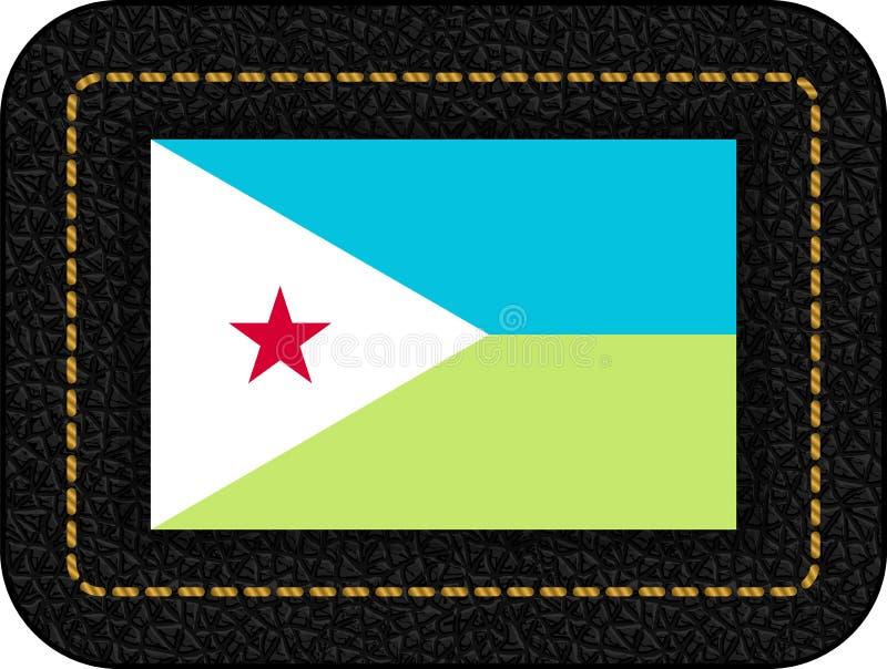 Флаг Джибути Значок вектора на черном кожаном фоне 2:3 коэффициента бесплатная иллюстрация