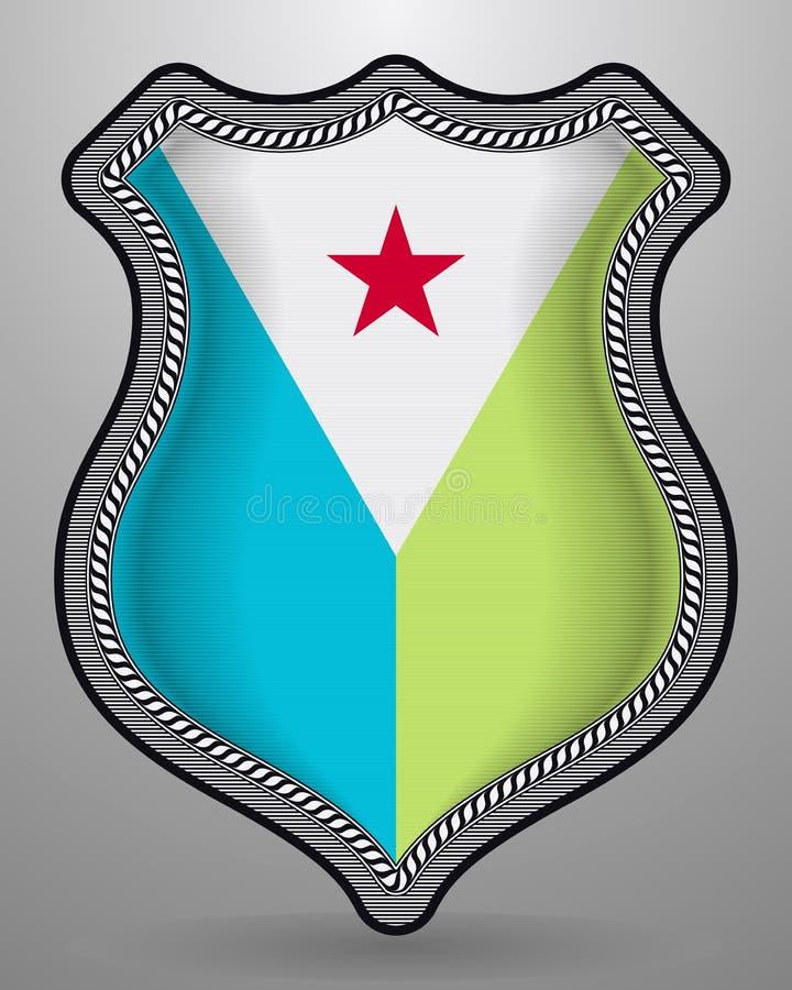 Флаг Джибути Значок и значок вектора Вертикальная версия ориентации бесплатная иллюстрация