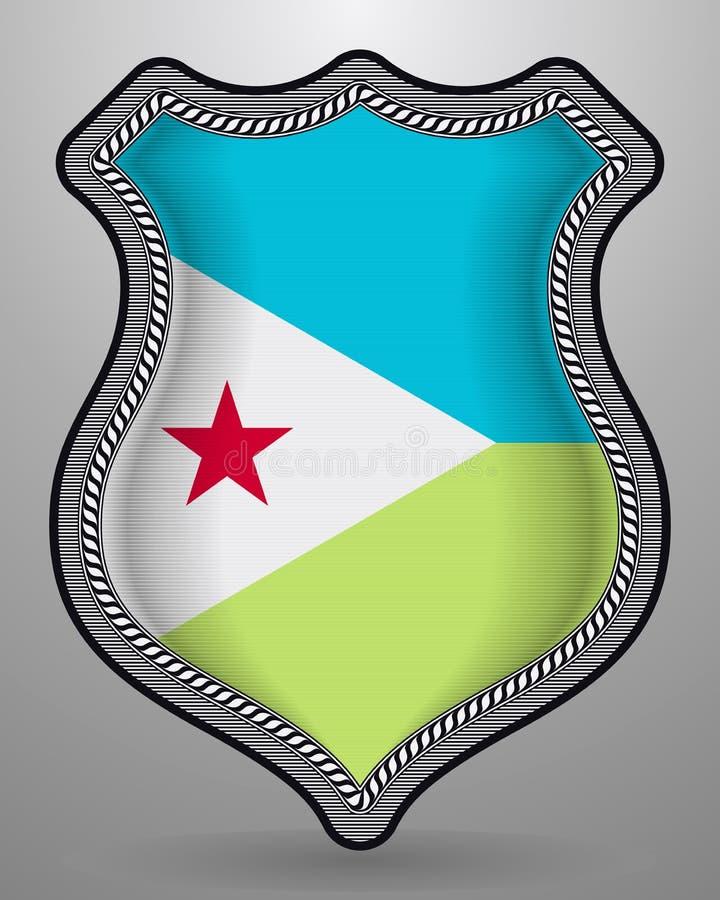 Флаг Джибути Значок и значок вектора Горизонтальная версия ориентации иллюстрация штока