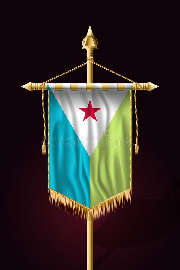 Флаг Джибути Праздничное вертикальное знамя r иллюстрация вектора