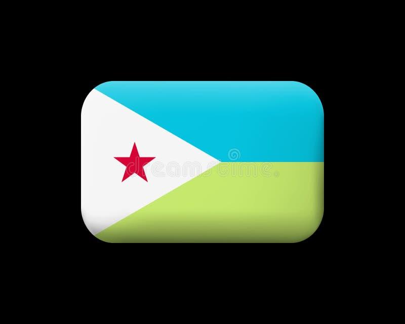 Флаг Джибути Matted значок и кнопка вектора Прямоугольная форма с округленными углами иллюстрация штока