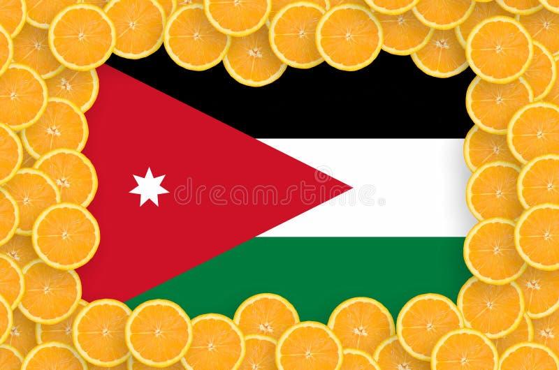 Флаг Джордан в свежей рамке кусков цитрусовых фруктов бесплатная иллюстрация