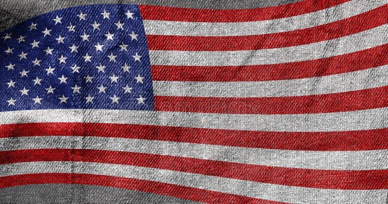 Флаг Дня независимости США эволюционируя на фоне текстуры ткани стоковое фото