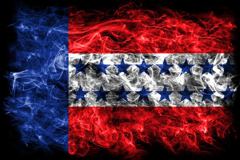 Флаг дыма архипелага Tuamotu, группы в составе острова в французское поли иллюстрация вектора
