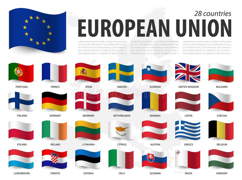 Флаг Европейского союза ЕС и членство на предпосылке карты Европы Развевая дизайн флага r иллюстрация штока