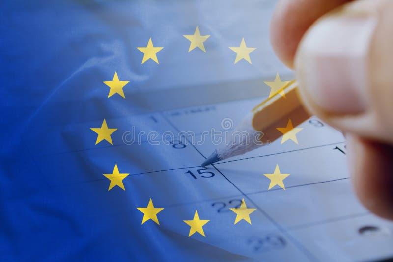 Флаг Европейского союза и дата календаря пятнадцатое стоковое фото