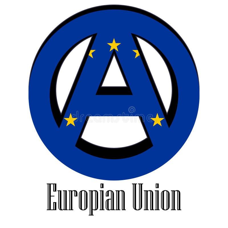 Флаг Европейского союза мира в форме знака анархии иллюстрация штока