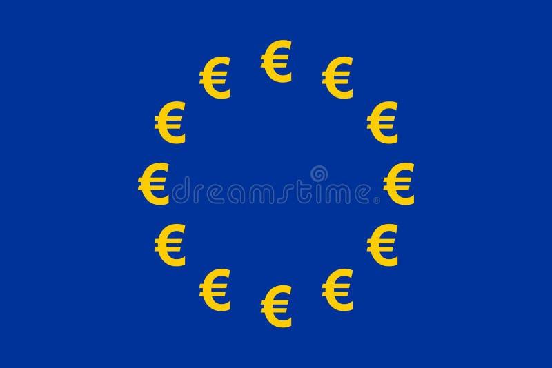 флаг евро валюты иллюстрация вектора