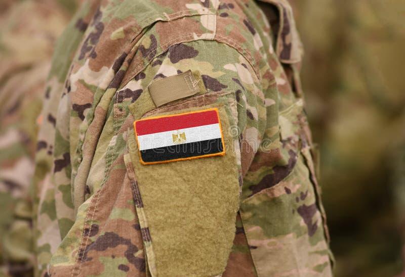 Флаг Египта на солдатах подготовляет коллаж стоковая фотография