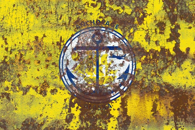 Флаг задымления городов Анкоридж, положение Аляски, Соединенные Штаты Americ стоковая фотография rf
