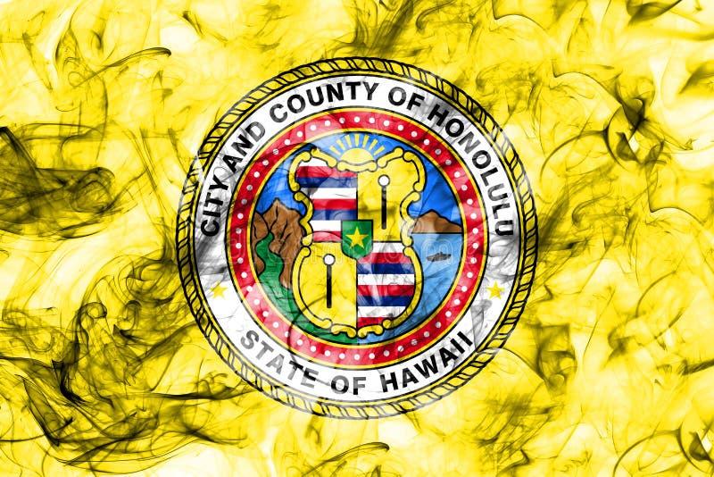 Флаг задымления городов Гонолулу, положение Гаваи, Соединенные Штаты Америки бесплатная иллюстрация